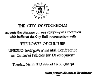 World Conference on Culture Stockholm 1998